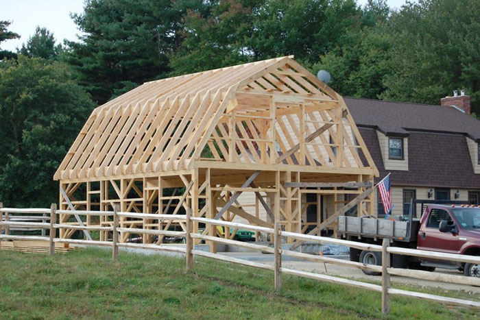 Construction sevigny custom barns post and beam for Gambrel barn homes kits